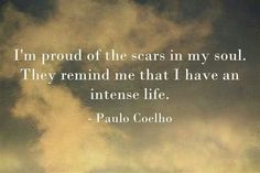 Paulo Coelho. I am proud of the scars in my soul. Spirit is