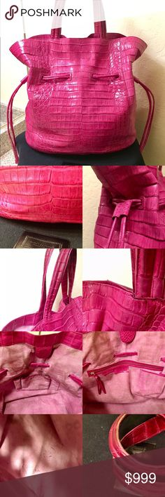 Selling this 💯% Auth Nancy Gonzalez Hot Fuchsia Crocodile Tote on Poshmark! My username is: deeajay7. #shopmycloset #poshmark #fashion #shopping #style #forsale #Nancy Gonzalez #Handbags