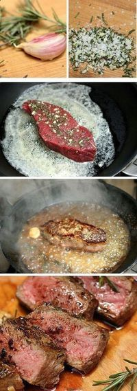 Rosemary Garlic Butter Steak + Tips for Cooking a Great Steak - My Nana spoiled me with pan-fried steak growing up. Rosemary Garlic Butter Steak + Tips for Cooking a Great Steak Steak Recipes, Paleo Recipes, Dinner Recipes, Cooking Recipes, Steak Tips, Easy Recipes, Sirloin Recipes, Kabob Recipes, Fondue Recipes