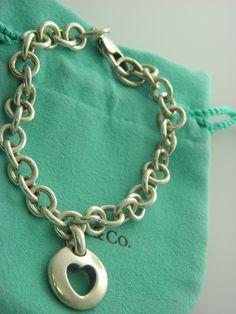 "Tiffany & Co.OPEN HEART ROUND  TAG CHARM LINKS  BRACELET 7.5"" INCH #83.  #TiffanyCo"
