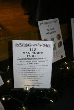 Classroom Charity Auction Item - Man Night for 10.   Live auction item