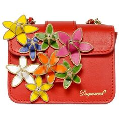 DSQUARED Mini Niagara Leather Bag With Flowers - Red (£475) ❤ liked on Polyvore featuring bags, handbags, clutches, purses, red, genuine leather purse, leather purse, leather man bag, red leather handbag and handbags & purses