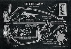 Representation of an old pictograph of the westward migration along the borders of Gichigamiing (Lake Superior)