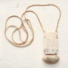 Madagascar Opal, Labradorite, Copper and Brass Necklace