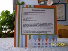 6x6 Carrot Cookies Recipe Card