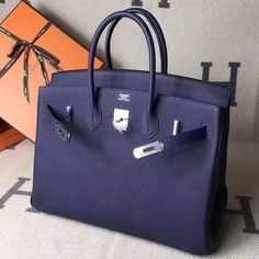 c1c3d6a373 Hermes Original Togo Leather Birkin 25 30 35 Handbag Mod Blue (Silver-tone  Hardware)