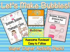 Lets Make Bubbles! A Super Duper Bubble Activity Pack from Engaging Lessons on TeachersNotebook.com (38 pages)  - This pack contains a complete thematic unit all set to the theme of bubbles AND even includes a a Powerpoint presentaton All About Fun Bubble Facts! Comes with cute printables to get the students in the mood to enjoy learning all about bubbles! Dont
