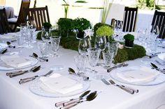 Montaje de lino blanco con precioso centro con detalles marinos