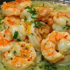Easy and healthy Shrimp Scampi ...No Butter (uses chicken broth, white wine, lemon juice)