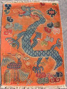 Antique Imperial Chinese Orange Rug