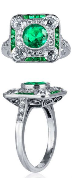 Art Deco Emerald Diamond Ring, Platinum Art Deco Emerald and diamond ring consisting of one round old mine emerald weighing 1.30 carats set with approximately 1.00 carats total weight of Old European cut diamonds in a beaded mounting.