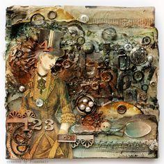 Grunge canvas collage by Finnabair Canvas Collage, Mixed Media Collage, Mixed Media Canvas, Collage Art, Canvas Board, Altered Canvas, Altered Art, Collages, Steampunk Crafts
