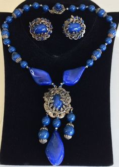Vintage Miriam Haskell Necklace Earring Set~Blue Faux Lapis/Pate de Verre Glass #MiriamHaskell