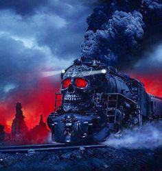 Train with a skeleton face red & black art