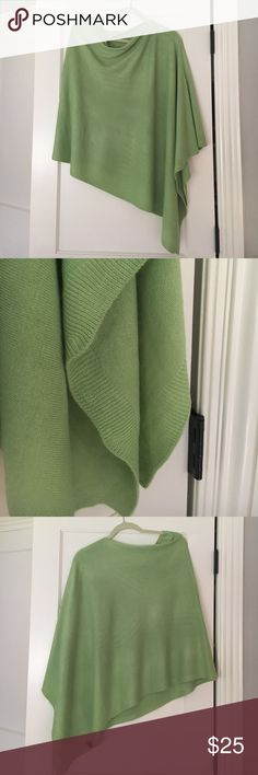 Green sweater poncho green sweater pull over poncho. 100% acrylic. One size. Worn two times , excellent condition Sweaters Shrugs & Ponchos