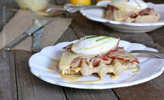 Eggs Benedict Over Savory Waffles