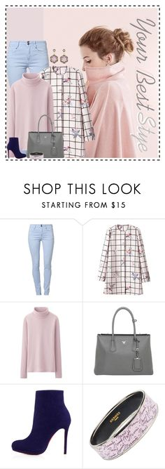 """Soft Pink"" by fatima92 ❤ liked on Polyvore featuring Soyaconcept, Uniqlo, Prada, Christian Louboutin, Hermès and Cathy Waterman"