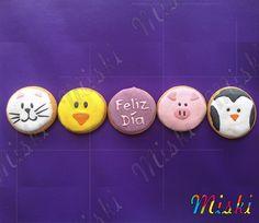 Animales hechos en galletas  #cat #pollito #pig #pio #pinguino #galletasdeanimales #animalcookies Cookies, Rock, School, Happy, Animal Crackers, Facts, Biscuits, Stone, Rock Music