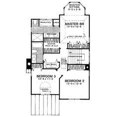European Style House Plan - 3 Beds 2.5 Baths 2000 Sq/Ft Plan #322-102 - Houseplans.com European Fashion, European Style, Building Plans, House Plans, Floor Plans, House Design, How To Plan, Baths, Bathrooms