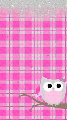 Pink cute owl wallpaper