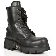 Original New Rock Combat Boots w Heavy Sole! Black Leather Combat Boots w Heavy Sole, made to last from New Rock Boots. Zip on the inner leg. Lacing up the front.  NOW ONLY $199.99 w Shipping Included! http://www.newrockbootsusa.com/new-rock-combat-boots-heavy-sole.html