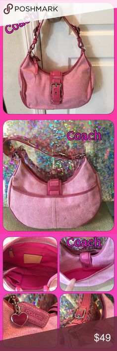 "Pre Loved Coach Pink Fabric/Suede Handbag Pre loved Coach handbag is a pink tweed like material with pink suede. Silver accents. Inside is spotless, looks brand new, has zip & slip pockets. Exterior has some wear & I'm not sure how to clean, but I would try the dry cleaners. It does have a few spots & marks but I bet the dry cleaner could get it! See pic 4 for close up of flaws. 10"" handle drop fits over shoulder. 12 1/2"" W at widest part, length is 7 1/2-9"" depending where you measure from…"