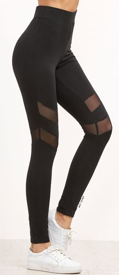 Workout style! Black high waist leggings with mesh cutout detail.