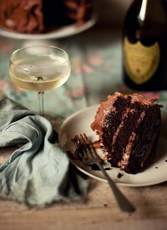 Chocolate cake and Champagne.