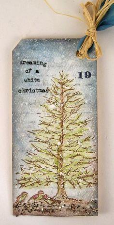 Suzz's Stamping Spot, Hero Arts, Inkadinkado, Snowy Christmas, Dreaming of a White Christmas, Pine Tree, Tag, Day 19,