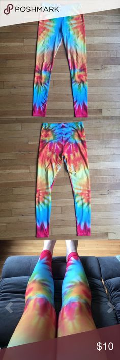 EUC Rainbow Tie Dye Leggings - One Size OS - SOFT Worn 2-3x. Excellent used condition- no stains, tears, or pilling. Only imperfection is very minor manufacturers defect on left calf area- small white dotted areas where dye is missing (see last pic). Labeled ONE SIZE. Per manufacturer, one size fits 0-10/12, but I would say more like 0-8. #: boho, bohemian, hippie, hippy, festival. Pants Leggings