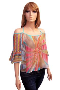 Chiffon Top with 3/4 sleeves