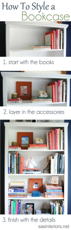 A breakdown on how-to style a bookcase. Inspiration tips and ideas on how and where to begin accessorizing a bookcase or shelf in your home., home office design decor Home Staging, Bookshelf Styling, Decoration Inspiration, Decor Ideas, Decorating Ideas, Craft Ideas, Project Ideas, Interior Decorating, Room Ideas