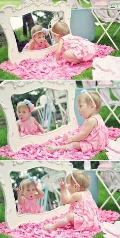 1 year old baby girl photo shoot ideas--looking into a vintage mirror
