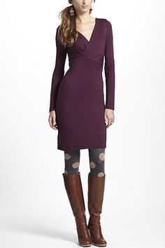 love this look: plum dress, polka dot tights, tall brown boots