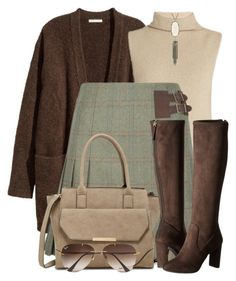 """Tweed Skirt & Suede Boots"" by brendariley-1 ❤ liked on Polyvore featuring The Row, DUBARRY, Urban Expressions, Nine West, Kendra Scott and Ray-Ban"