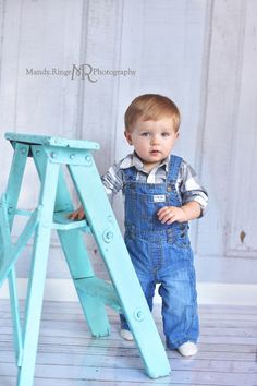 Boy's first birthday portraits // Gray, blue, overalls, shabby teal ladder, vintage inspired // Traveling studio session at client's home - South Elgin, IL // by Mandy Ringe Photography