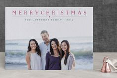 """""""Height of Happiness"""" - Elegant, Photo Collage Letterpress Holiday Photo Cards in Mixed Berry by Carolyn MacLaren."""