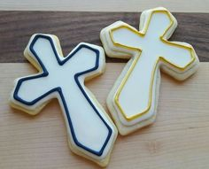 Single cross cookie favors for a baptism, half navy and half gold