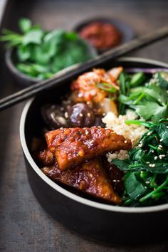 Korean-Style Seoul Bowl- with Gochujang baked Tempeh, steamed veggies, kimchi and pickled cucumber- a healthy vegan version of Bibimbap! Vegan Bibimbap, Steam Veggies, Vegetarian Recipes, Healthy Recipes, Asian Recipes, Ethnic Recipes, Kimchi, Healthy Snacks, Recipes
