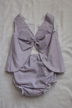 Letty Bow: Seersucker girls two-piece outfit with bow by KippyBaby