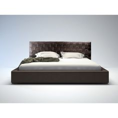 This bed is elegantly designed with a complex woven leather headboard contrasted with a simple leather frame. The bonded leather headboard is handwoven. Leather Platform Bed, Platform Beds, Plum Bedding, Headboard Decor, Leather Headboard, Headboards For Beds, Queen Beds, Modern Bedroom, Modern Beds