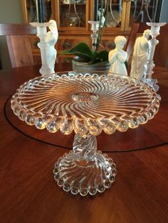 "EAPG ""Ball and Swirl"" aka ""Swirl and Ball"" Cake Stand made by McKee Bros. circa 1894, 9.5""D x 7.25""H (9""D inside top rim) 3/31/15 view 1 of 2."