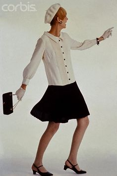 Model in White and Navy Shirtdress by Jonathan Logan 656220f835