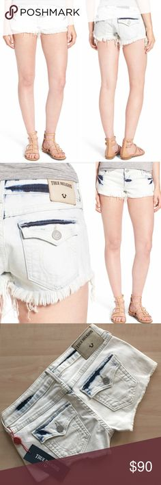 "🎀NWT $179 True Religion 'JOEY' Denim Shorts🎀 💯% AUTHENTIC BRAND NEW W/TAGS $179 True Religion 'JOEY' Flap Pocket Cutoff Denim Shorts  SIZE: 25 (0-2) STYLE: WC568XD9B COLOR: Bleach Stains Blue  Details: -2"" inseam -Zip fly with button closure -Five-pocket style  👜Available thru Ⓜ️ W/FREE SHIP💋 👍REASONABLE OFFERS  🚫NO LOW BALLING🚫 ⚡️FLASH SALE/1 DAY SALE⚡️= Price Firm 🚫NO OFFERS ACCEPTED🚫 Items will be shipped out Same or Next Day. Any other questions please ask feel free to ask ☺️…"