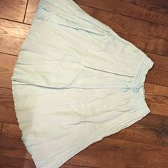 J. Crew gauze skirt Vintage gauze skirt in light Aqua. Elastic drawstring waist, this would fit a small or medium. Hits just below knee. It is quite sheer. In very good condition. J. Crew Skirts