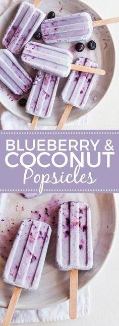 Coconut Blueberry Smash Pops -- vegan and paleo Köstliche Desserts, Frozen Desserts, Frozen Treats, Delicious Desserts, Dessert Recipes, Yummy Food, Paleo Dessert, Damn Delicious Recipes, Frozen Cookies