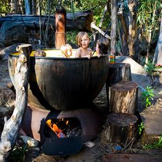 Outdoor Tub With Fire System To Warm The Water