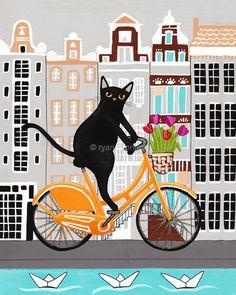Amsterdam Bicycle Ride Original Folk Art Digital by KilkennycatArt