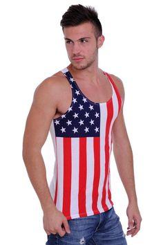 Men's Proud American United States Flag USA Tank Top XL