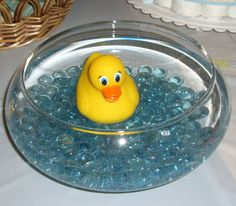Rubber Ducky centerpiece for baby shower. cute.